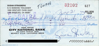 SUSAN STRASBERG - AUTOGRAPHED SIGNED CHECK 11/21/1973