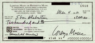LORENZO MUSIC - AUTOGRAPHED SIGNED CHECK 03/04/1981