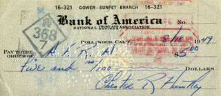 CHET HUNTLEY - AUTOGRAPHED SIGNED CHECK 08/18/1949