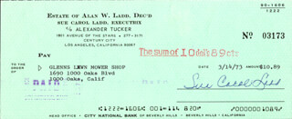 SUE CAROL LADD - AUTOGRAPHED SIGNED CHECK 03/14/1973