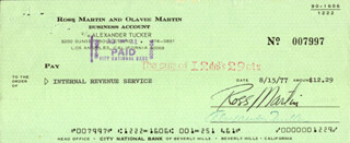 ROSS MARTIN - AUTOGRAPHED SIGNED CHECK 08/15/1977