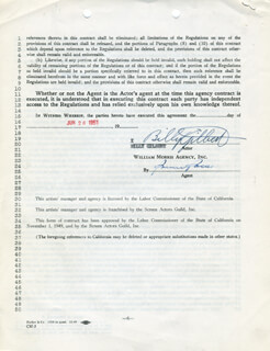 BILLY GILBERT - CONTRACT SIGNED 06/26/1951