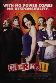 Autographs: CLERKS II MOVIE CAST - POSTER SIGNED CO-SIGNED BY: KEVIN SMITH, JEFF ANDERSON, BRIAN O'HALLORAN, JASON MEWES, JENNIFER SCHWALBACH SMITH, ROSARIO DAWSON, TREVOR FEHRMAN, SCOTT MOSIER, KEVIN WISEMAN, JAKE RICHARDSON, HARVEY WEINSTEIN, NATHANIEL MARTIN EARTHQUAKE STROMAN