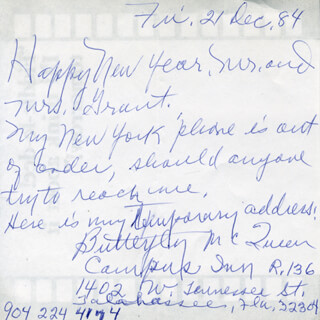 BUTTERFLY McQUEEN - AUTOGRAPH LETTER SIGNED 12/21/1984