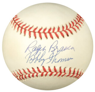 RALPH HAWK BRANCA - AUTOGRAPHED SIGNED BASEBALL CO-SIGNED BY: BOBBY THOMSON