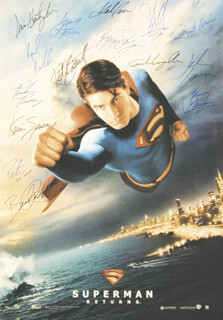 Autographs: SUPERMAN RETURNS MOVIE CAST - POSTER SIGNED CIRCA 2006 CO-SIGNED BY: NOEL NEILL, EVA MARIE SAINT, FRANK LANGELLA, JACK LARSON, KEVIN SPACEY, PETA WILSON, KAL PENN, BRYAN SINGER, BRANDON ROUTH, GILBERT ADLER, KATE BOSWORTH, JAMES MARSDEN, PARKER POSEY, SAM HUNTINGTON, JAMES KAREN