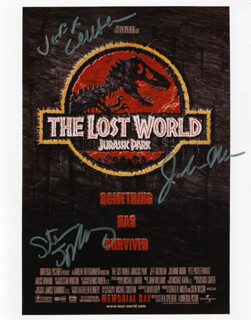 THE LOST WORLD: JURASSIC PARK - AUTOGRAPHED SIGNED PHOTOGRAPH CO-SIGNED BY: JEFF GOLDBLUM, STEVEN SPIELBERG, JULIANNE MOORE