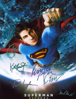 SUPERMAN RETURNS MOVIE CAST - AUTOGRAPHED SIGNED PHOTOGRAPH CO-SIGNED BY: NOEL NEILL, EVA MARIE SAINT, FRANK LANGELLA, JOHN WILLIAMS, KEVIN SPACEY, PETA WILSON, KAL PENN, BRYAN SINGER, BRANDON ROUTH, KATE BOSWORTH, JAMES MARSDEN, PARKER POSEY