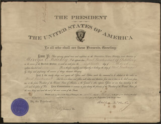 PRESIDENT WILLIAM McKINLEY - MILITARY APPOINTMENT SIGNED 05/06/1899 CO-SIGNED BY: LT. GENERAL HENRY C. CORBIN, GEORGE DE RUE MEIKLEJOHN