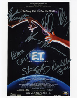 E.T., THE EXTRA-TERRESTRIAL - AUTOGRAPHED SIGNED PHOTOGRAPH CO-SIGNED BY: DREW BARRYMORE, DEE WALLACE, STEVEN SPIELBERG, PETER COYOTE, HENRY THOMAS, ROBERT McNAUGHTON