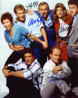 CHEERS TV CAST - AUTOGRAPHED SIGNED PHOTOGRAPH CO-SIGNED BY: JOHN RATZENBERGER, TED DANSON, WOODY HARRELSON, RHEA PERLMAN, KELSEY GRAMMER, KIRSTIE ALLEY, GEORGE WENDT