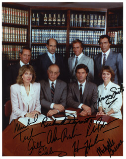 L. A. LAW TV CAST - AUTOGRAPHED SIGNED PHOTOGRAPH CO-SIGNED BY: HARRY HAMLIN, CORBIN BERNSEN, JILL EIKENBERRY, ALAN RACHINS, RICHARD DYSART, JIMMY SMITS, MICHELE GREENE, MICHAEL TUCKER