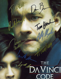 THE DA VINCI CODE MOVIE CAST - AUTOGRAPHED SIGNED PHOTOGRAPH CO-SIGNED BY: TOM HANKS, RON HOWARD, IAN MCKELLEN, AUDREY TAUTOU, ALFRED MOLINA, JURGEN PROCHNOW, PAUL BETTANY, JEAN RENO, DAN BROWN