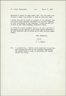 ADMIRAL WILLIAM F. BULL HALSEY JR. - TYPED LETTER SIGNED 03/25/1954