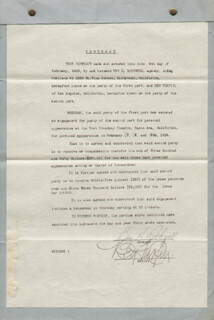 BEN TURPIN - CONTRACT SIGNED 02/05/1929