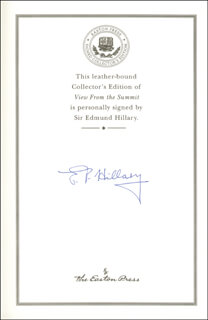 SIR EDMUND P. HILLARY - BOOK SIGNED
