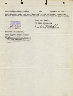 LOUIS B. MAYER - DOCUMENT SIGNED 11/05/1930