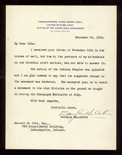 GENERAL DOUGLAS MACARTHUR - TYPED LETTER SIGNED 12/22/1925