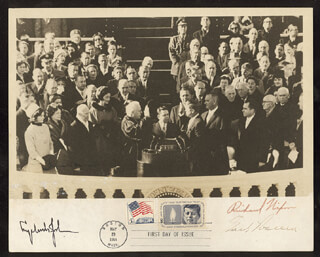 PRESIDENT LYNDON B. JOHNSON - AUTOGRAPHED SIGNED PHOTOGRAPH CO-SIGNED BY: CHIEF JUSTICE EARL WARREN, PRESIDENT RICHARD M. NIXON