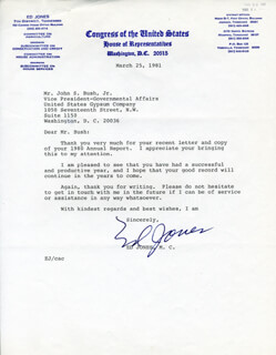 EDWARD ED JONES - TYPED LETTER SIGNED 03/25/1981