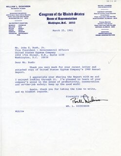 WILLIAM L. DICKINSON - TYPED LETTER SIGNED 03/25/1981