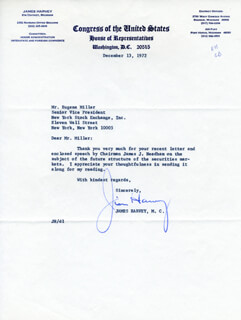 JAMES HARVEY - TYPED LETTER SIGNED 12/13/1972