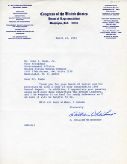 GEORGE WILLIAM BILL WHITEHURST - TYPED LETTER SIGNED 03/25/1972