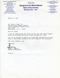 LARRY E. CRAIG - TYPED LETTER SIGNED 03/31/1981