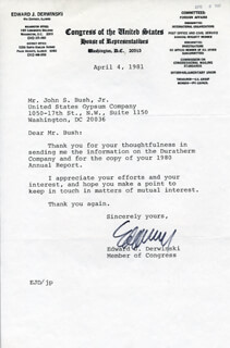 Autographs: EDWARD J. DERWINSKI - TYPED LETTER SIGNED 04/04/1981
