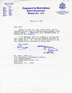 BOB WHITTAKER - TYPED LETTER SIGNED 04/04/1981
