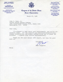 NEWT GINGRICH - TYPED LETTER SIGNED 03/24/1981