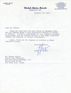 JACOB K. JAVITS - TYPED LETTER SIGNED 12/29/1972