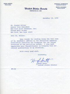 HUGH D. SCOTT JR. - TYPED LETTER SIGNED 12/12/1972