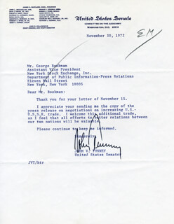 JOHN VARICK TUNNEY - TYPED LETTER SIGNED 11/30/1972