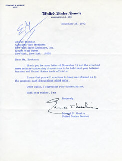 EDMUND S. MUSKIE - TYPED LETTER SIGNED 11/28/1972