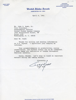 GARY HART - TYPED LETTER SIGNED 04/06/1981