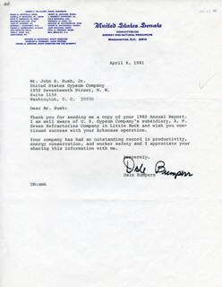 Autographs: GOVERNOR DALE BUMPERS - TYPED LETTER SIGNED 04/06/1981