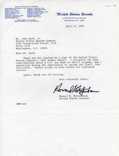 HOWARD METZENBAUM - TYPED LETTER SIGNED 04/08/1981