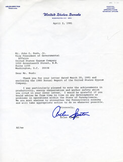 ARLEN SPECTER - TYPED LETTER SIGNED 04/02/1981