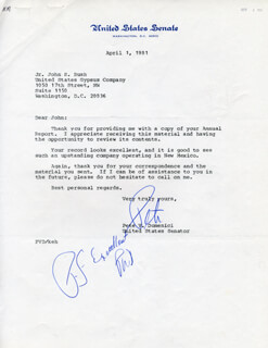 Autographs: PETE V. DOMENICI - TYPED LETTER SIGNED 04/01/1981