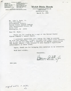 HARRISON ARLINGTON PETE WILLIAMS JR. - TYPED LETTER SIGNED 03/31/1981