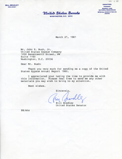 Autographs: BILL BRADLEY - TYPED LETTER SIGNED 03/27/1981