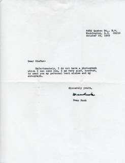 DEAN RUSK - TYPED LETTER SIGNED