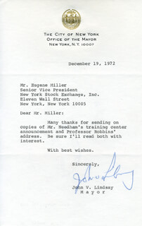 MAYOR JOHN V. LINDSAY - TYPED LETTER SIGNED 12/19/1972