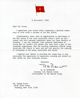 GENERAL ROBERT H. BARROW - TYPED LETTER SIGNED 11/06/1981