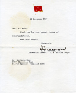 Autographs: GENERAL LEONARD F. CHAPMAN, JR. - TYPED LETTER SIGNED 12/14/1967