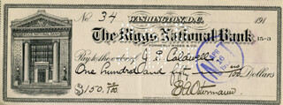 EDWARD A. OSTERMANN - AUTOGRAPHED SIGNED CHECK 04/16/1915