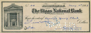 CHARLES W. RAY - AUTOGRAPHED SIGNED CHECK 05/10/1909