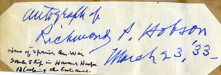 REAR ADMIRAL RICHMOND P. HOBSON - AUTOGRAPH 03/23/1933