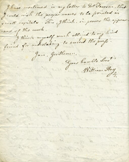 WILLIAM HEY - AUTOGRAPH LETTER SIGNED 01/15/1814